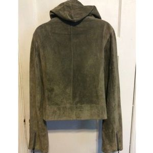 Mary Jane Jackets & Coats - Mary Jane Olive Green Suede Hoodie